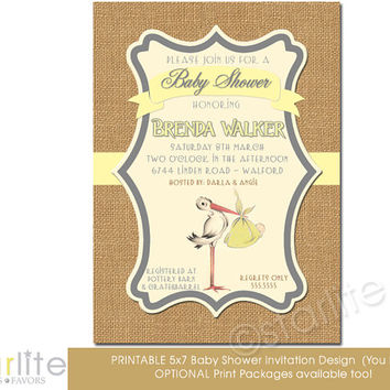Vintage Stork Baby Shower Invitation, stork baby shower, gender neutral - yellow burlap - 5x7 - vintage style unique - Printable - You Print