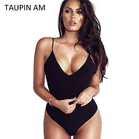 TAUPIN AM Black Bodysuit Women Jumpsuit Sexy Rompers Spaghetti Strap Body Suit Sleeveless Spandex Bodysuit Combinaison Femme