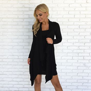 Invested Black Drape Jersey Dress