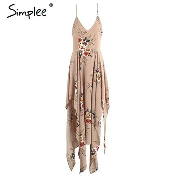 Simplee Boho flower print irregular summer dress Sexy deep v neck backless split long dress Elegant beach women dress vestidos