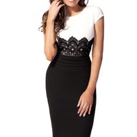 PAKULA Scoop Neck Contrast-Waist Embroidered Lace Bodycon Slim Dress