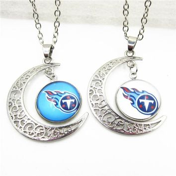 New Arrive 10pcs Moon Tennessee Titans Necklace Pendant Jewelry With Chains Necklace DIY Jewelry Football Sports Charms