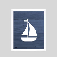 White Nautical Sailboat on Navy Wood Print Nursery Decor Baby Print CUSTOMIZE YOUR COLORS 8x10 Prints Nursery Decor Art Baby Room Decor Kids