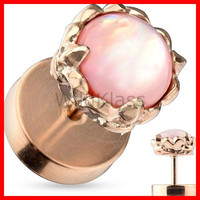 Fake Plug Pink Gemstone Rose Gold Plated 316L Surgical Steel