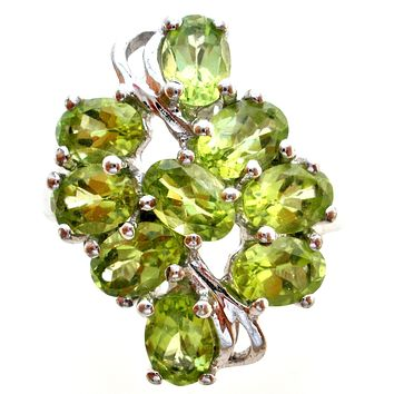 Peridot Green Gemstone Ring Sterling Silver