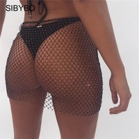 Sibybo Parkly Rhinestone Mesh Bodycon Mini Skirt Women Sexy Lace Up See Through Fishnet Skirts Harajuku Summer Beach Party Skirt