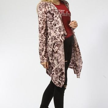 Brocade Floral Open Cardigan