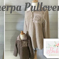 Sherpa Pullover Monogrammed Oatmeal Charcoal Ladies Adult Christmas Gift
