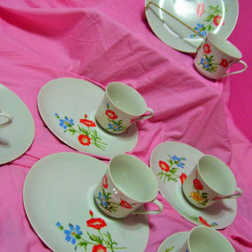 Red Poppy Floral, Coffee Tea Set, Snack Set, Brunch Patio Set, Cup and Plate, 12 Pieces, Service for 6, Fine Japan China
