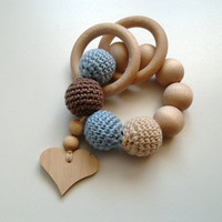 crochet natural wood teether,  teething ring,  crochet wooden beads, baby gift toy, senses training, baby shower, teething toy, nursery gift
