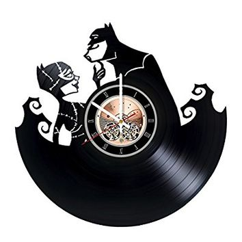 Batman and Catwoman Vinyl Record Wall Clock - Nursery or Home room wall decor - Gift ideas for men and women, boys and girls, teens - Unique Art Design