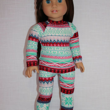 18 inch doll clothes, fair isle print doll pajamas, matching handknit slippers, Christmas pyjamas, doll pjs,