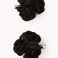 FOREVER 21 Rosette Hair Clip Set Black One