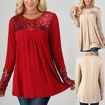 Fashion Sequins Womens Tops Long Sleeve O-Neck Casual Pullover Shirt Blouse
