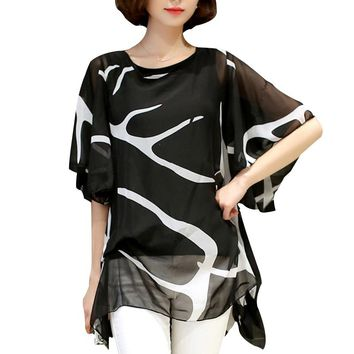 Women Blouses  Summer Loose Elegant Ruffle Chiffon Blouse Shirt Casual Women Tops Plus Size Women Clothing Blusas