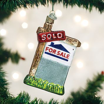 Old World Christmas Handcrafted Blown Glass Ornament -- Realty Sign