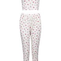 Ava Flamingo Crop Tshirt & Jog Lounge Co Ord Set