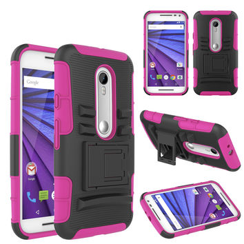 Motorola Moto G (2015) | XT1540 | XT1548 Case, Hybrid Dual Layer Armor[Shock/Impact Resistant] Case Cover with Built-in Kickstand for Motorola Moto G (2015) - Hot Pink