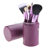New 12pcs 12 Professional Makeup Brush Set Cosmetic Brush Kit Makeup Tool with Cup Leather Holder Case 6colors