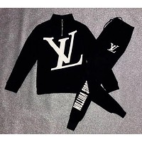 LV Louis Vuitton Trending Women Men Stylish Print Velvet Cardigan Jacket Coat Pants Trousers Set Two-Piece Black
