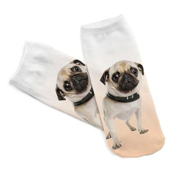 3D Printed Men Cotton Socks Kids Pugs Printed Casual Style Low Anklet Socks For Women Calcetines Chaussettes