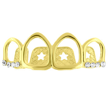 Cut Out Iced Top Teeth Grillz 14k Yellow Gold Finish