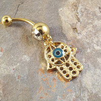Gold Hamsa Hand Belly Button Ring Hand of Fatima Belly Jewelry