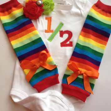 Baby Girl Outfit - half birthday outfit - 6 month old baby - baby legwarmers - personalized baby outfit - rainbow outfit