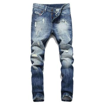 Fashion Men's Ripped Skinny Biker Jeans Destroyed Frayed Slim Fit Denim Pants