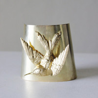 Large brass cuff, bird, adjustable, hummingbird statement bracelet, ultra modern 3D design