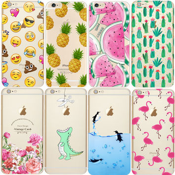 Soft TPU Silicone Transparent Clear Thin Cover For iPhone 7 7 Plus 4 4S 5S SE 5C 6 6S 6 6S Plus Coque Fashion Case Cases luxury