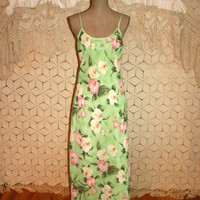Lingerie Long Nightgown Spaghetti Strap Maxi Nightie Romantic Chiffon Floral Night Gown Green Pink Orchid Print Large XL Womens Clothing