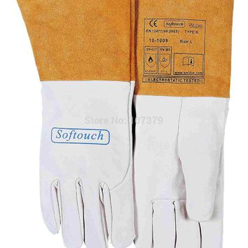 TIG MIG Work Glove Grain Goat Leather Welding Safety Glove