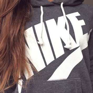 DCCKB62 NIKE' Fashion Casual Women Hooded Top Sweater Pullover Sweatshirt Hoodie Grey G