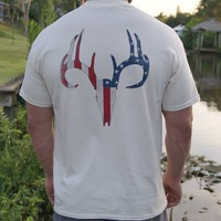 Distressed American Flag Deer Skull Natural Short Sleeve Tee