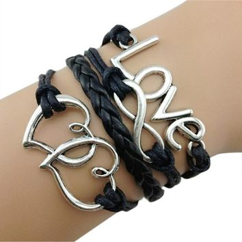 Fashion Women Bracelet Multilayer Alloy Leather Braided Hand Chain Love Leter Dual Heart Shape Ladies Bracelets For Gift @M23