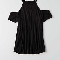 AEO Hi-Neck Cold Shoulder T-Shirt , True Black