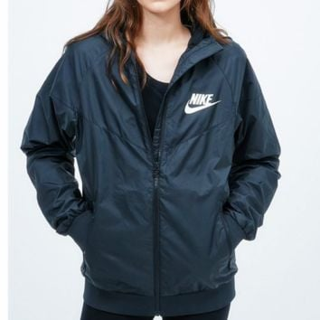 Fashion NIKE Hooded Zipper Cardigan Sweatshirt Jacket Coat Windbreaker Sportswear Contrast (6-color) Black