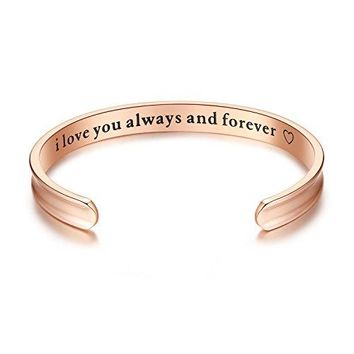 AUGUAU 'I love you always and forever' Grooved Cuff Bangle Bracelets, Jewelry for Women, Girls, Wife, Her, Mom