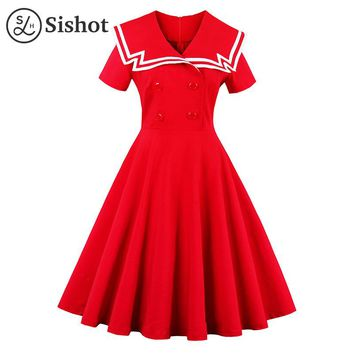 vintage summer red solid sailor collar a line knee length short sleeve button crew neck retro dress