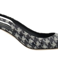 Dolce & Gabbana Black White Leather Slingback Shoes