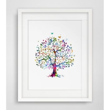 Tree Art Print Watercolor Wall Hanging Tree Watercolor Handmade  Tree Art Paper  Poster Watercolor Tree Wall Decor Without Frame