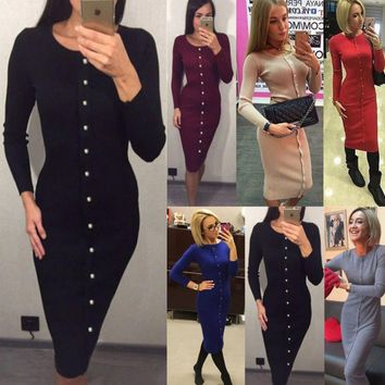 Hot sale fashion A row of buttons knit long sleeve dress five color