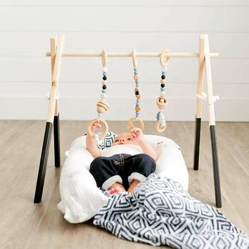 Nordic Baby Activity Gym Frame With Mobils For Newborns Baby Room Decor Wooden Early Educational Toys Photography Prop