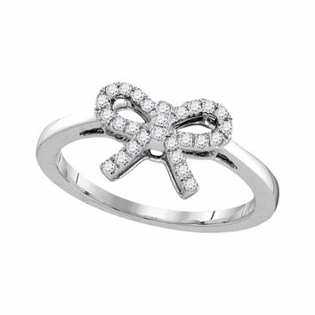 10kt White Gold Womens Round Diamond Ribbon Bow Knot Ring 1/6 Cttw