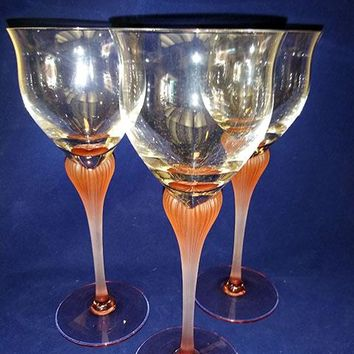Vintage Mikasa Sea Mist Pink Coral Wine/Water Glass Frosted Heart Stem Crystal