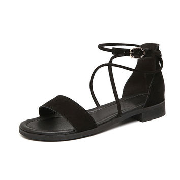 Women's Low Heel Genuine Leather Sandals Shoes Cross tied Gladiator Sandals Gray Black Apricot Flat Sandals Large Size  WSA018