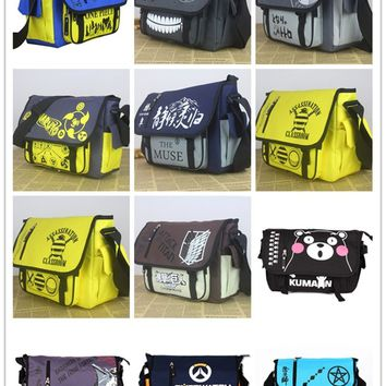 Naruto Sasauke ninja Anime Tokyo Ghoul/Totoro//OPE PIECE/Time Raiders/Online Anime Action Figure Printed Canvas Shoulder Messenger Bag toy NEW AT_81_8