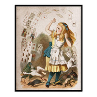 Alice in Wonderland Art Print Nursery Kids Children Fairytale Home Decor Wall Hanging Vintage Style 8 1/2 by 11 inches Giclee Print