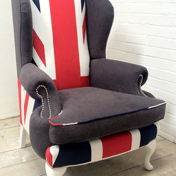 Bespoke Queen Anne Wing Chair, Union Jack